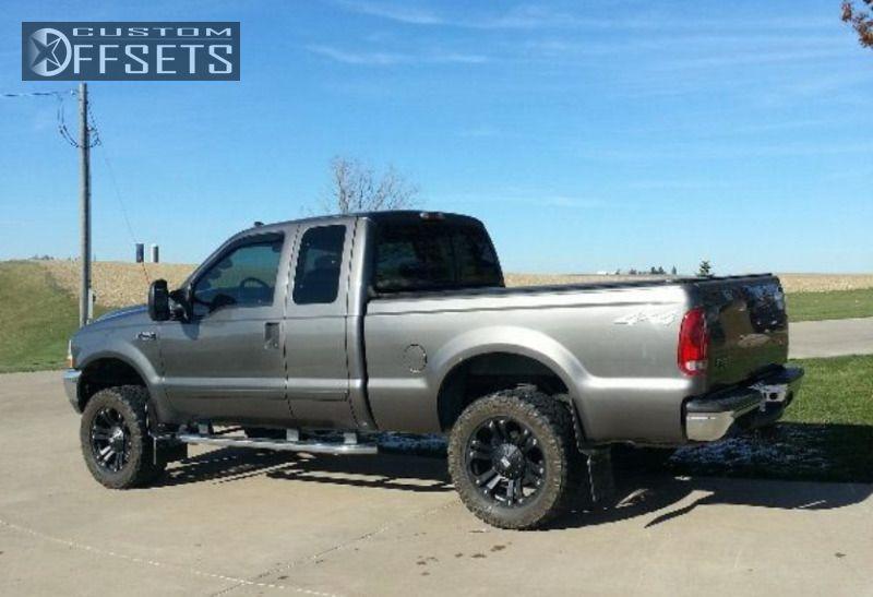 wheel offset  ford   super duty  flush leveling kit custom rims