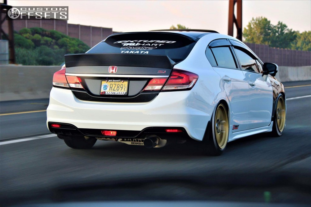 2015 honda civic enkei rpf1 k tuned coilovers for Gold honda civic
