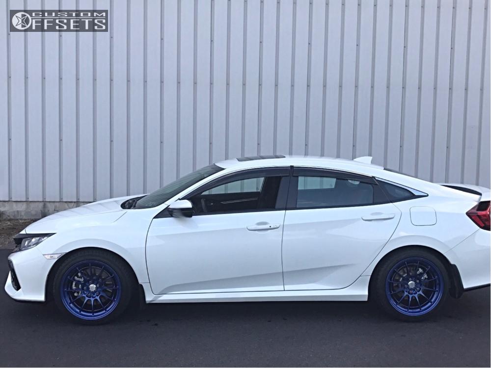 1 2017 Civic Honda Stock Enkei Nt03 Blue