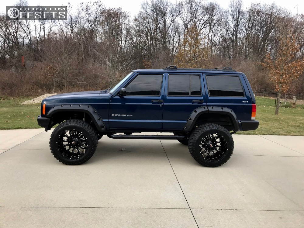13 2001 Cherokee Jeep Rough Country Suspension Lift 45in Scorpion Sc17 Black
