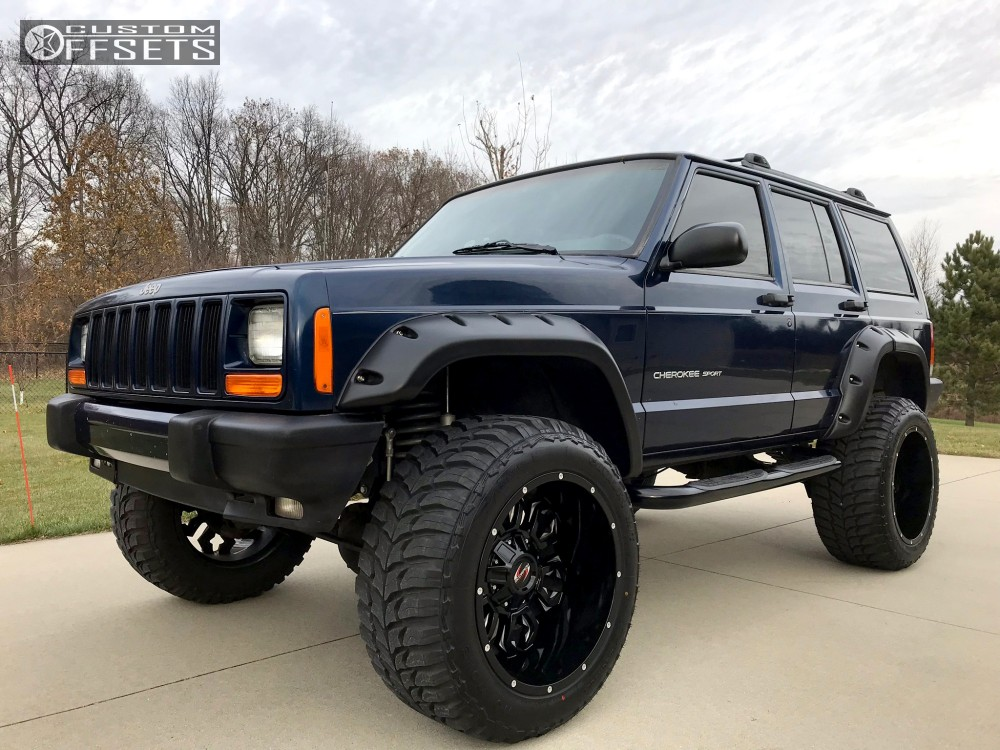 14 2001 Cherokee Jeep Rough Country Suspension Lift 45in Scorpion Sc17 Black