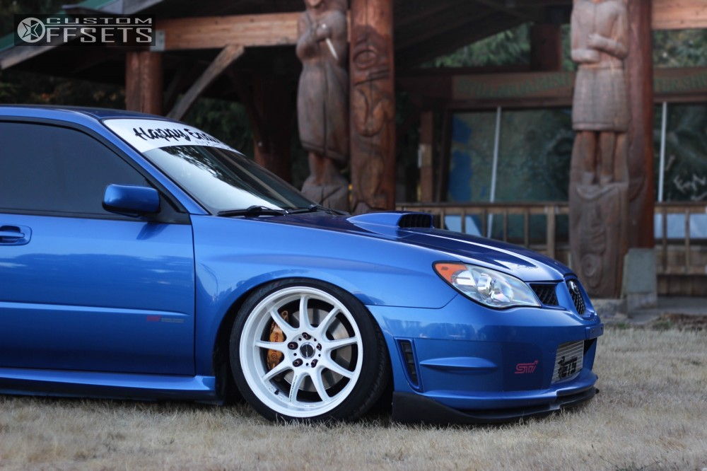 wheel offset 2006 subaru wrx sti tucked bagged custom offsets White Black Rims WRX