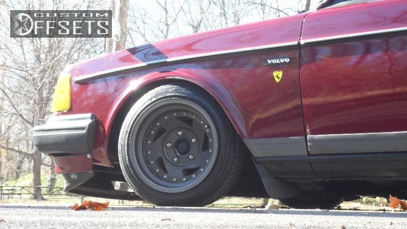 Wheel Offset 1990 Volvo 240 Aggressive 1 Outside Fender Dropped 3 Custom Rims