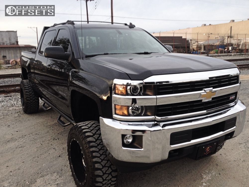 wheel offset 2015 chevrolet silverado 2500 hd slightly aggressive suspension lift 5 custom rims. Black Bedroom Furniture Sets. Home Design Ideas