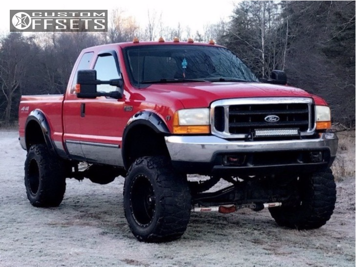 12 1999 F 250 Super Duty Ford Rancho Suspension Lift 10in Red Dirt Road 01 Matte Black