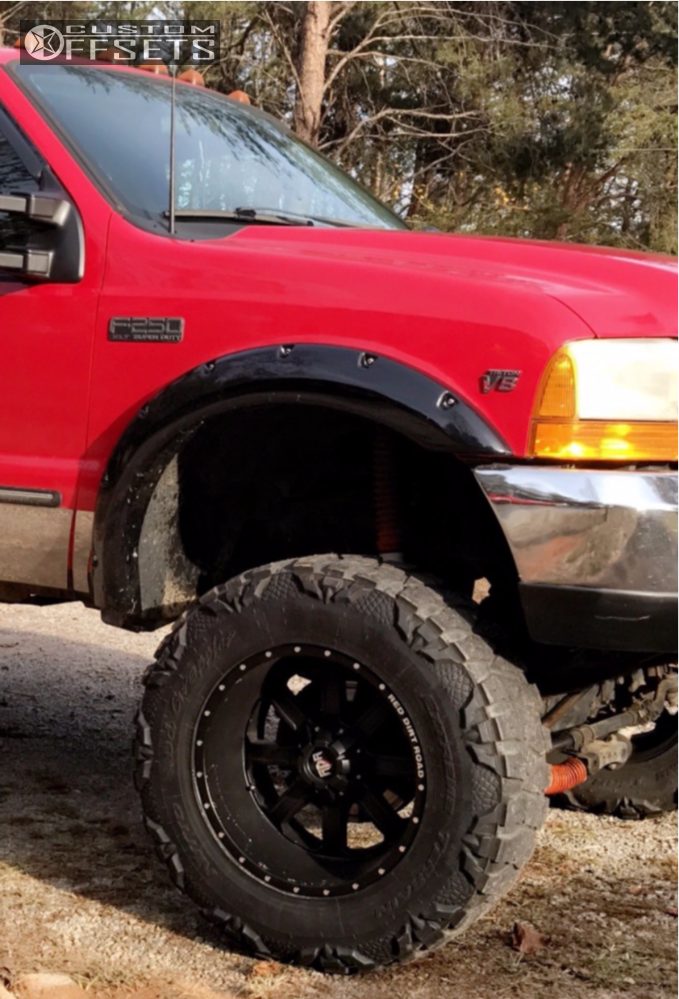 9 1999 F 250 Super Duty Ford Rancho Suspension Lift 10in Red Dirt Road 01 Matte Black