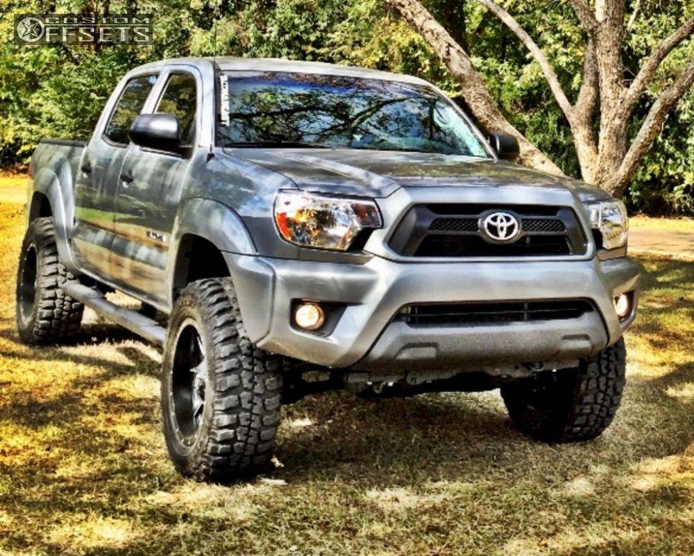 Toyota Tacoma 2.5 Leveling Kit >> Wheel Offset 2015 Toyota Tacoma Aggressive 1 Outside Fender Leveling Kit Custom Rims