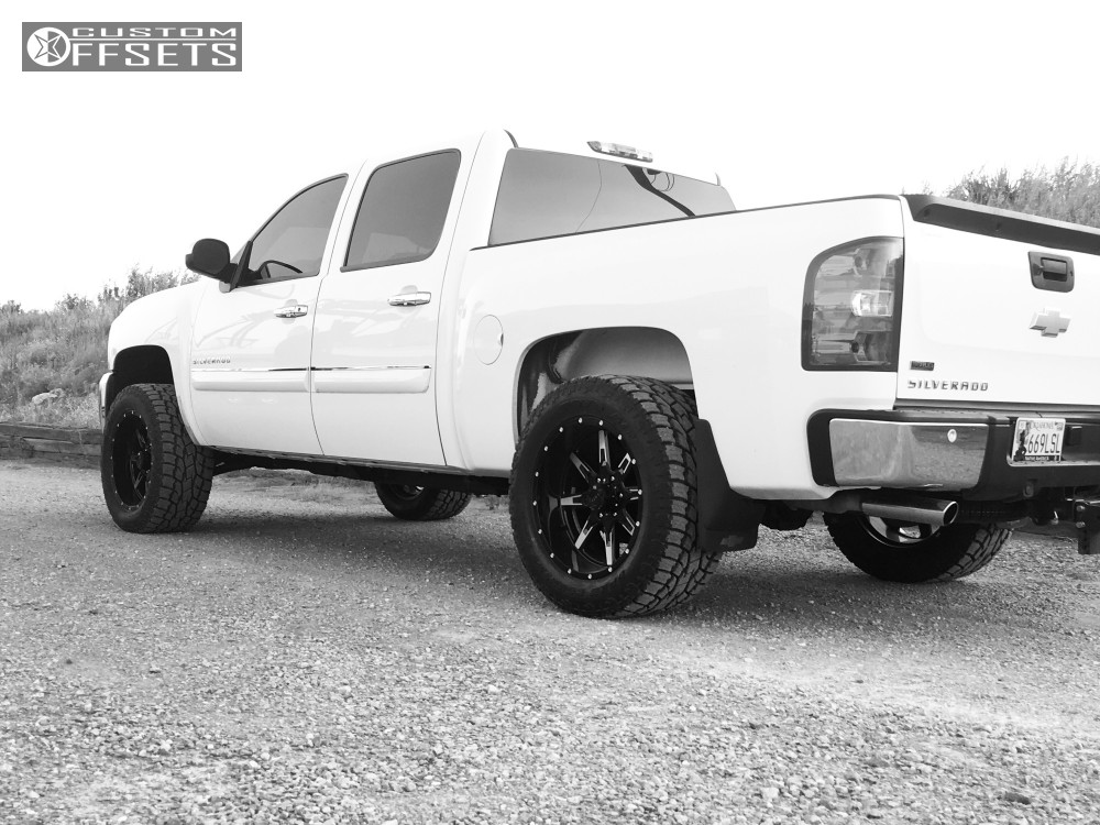 13 2012 K1500 Chevrolet Rough Country Leveling Kit Tuff T15 Black Machined