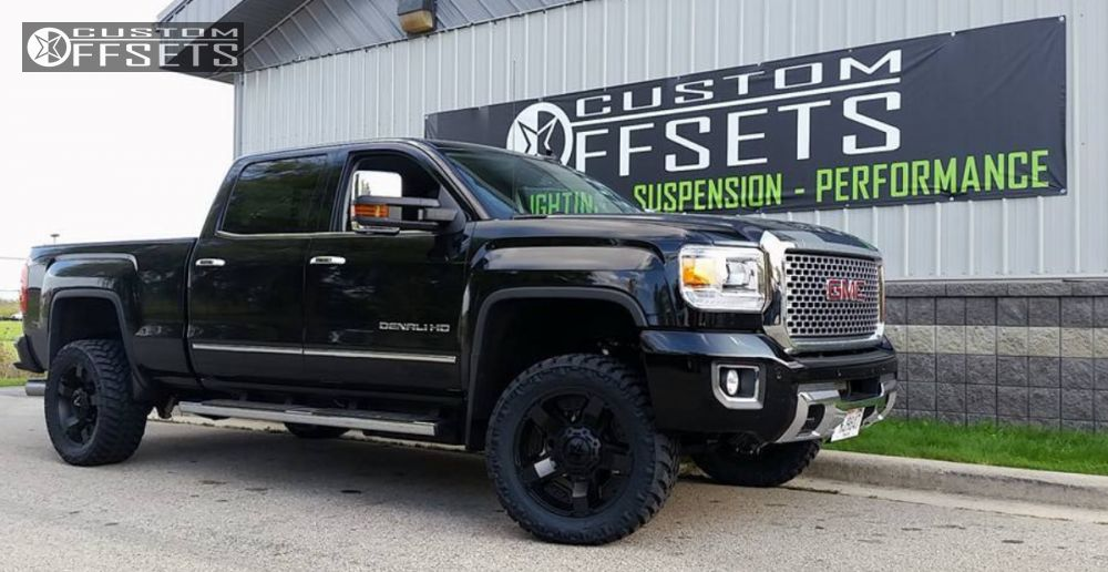Wheel Offset 2015 Gmc Sierra 2500 Hd Aggressive 1 Outside Fender Leveling Kit Custom Rims