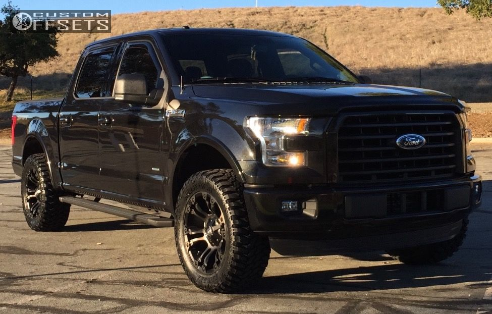 """2015 Ford F-150 Aggressive > 1"""" outside fender on 20x9 1 offset Fuel Vapor and 33""""x12.5"""" Lexani Mud Beast MT on Leveling Kit - Custom Offsets Gallery"""