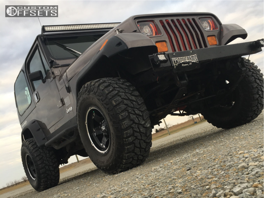 1993 jeep wrangler alloy ion style 194 rough country suspension lift 4in Black Jeep Wrangler Lifted 1 1993 wrangler jeep rough country suspension lift 4in ion alloy style 194 machined black