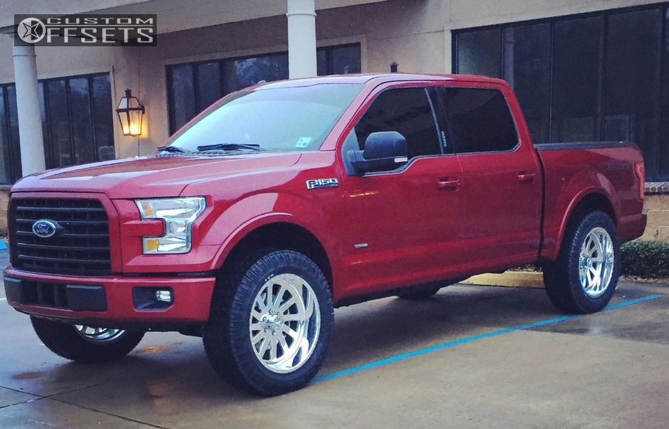 """2015 Ford F-150 Slightly Aggressive on 22x10 -25 offset American Force BURNOUT SS and 35""""x12.5"""" Super Swamper Vortrac on Leveling Kit - Custom Offsets Gallery"""