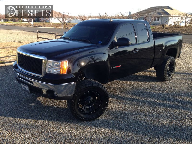 Wheel Offset 2008 Gmc Sierra 2500hd Aggressive 1 Outside Fender Suspension Lift 9 Custom Rims ...