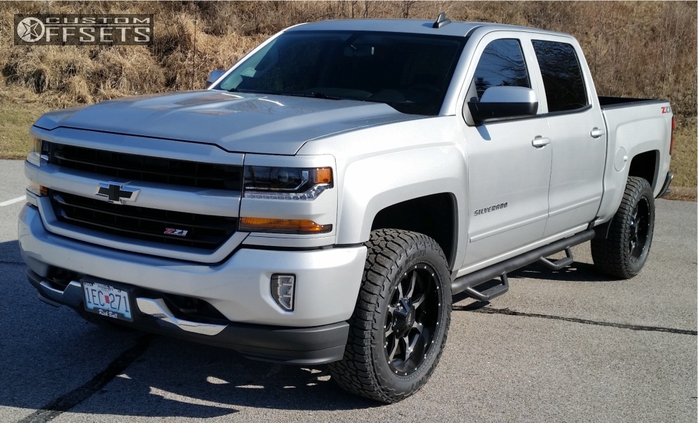 2018 chevrolet 1500 moto metal mo970 rough country leveling kit. Black Bedroom Furniture Sets. Home Design Ideas