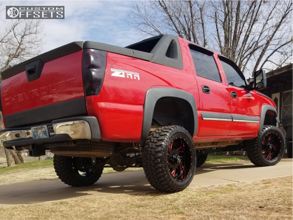 "2003 Chevrolet Avalanche Nearly Flush on 20x10 -18 offset Hd Luxxx Hd 7 and 33""x12.5"" Radar Renegade R7 on Suspension Lift 6"" - Custom Offsets Gallery"