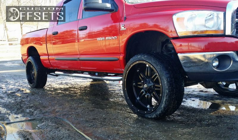 """2006 Dodge Ram 2500 Aggressive > 1"""" outside fender on 24x11 -24 offset Fuel Hostage and 285/40 Nitto Terra Grappler G2 on Leveling Kit - Custom Offsets Gallery"""