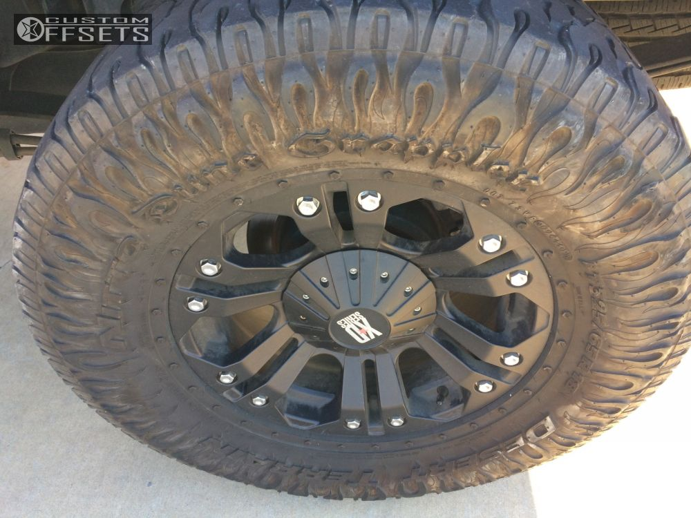"""2008 Ford F-150 Aggressive > 1"""" outside fender on 18x9 -12 offset Xd Monster and 325/65 Nitto Dune Grappler on Leveling Kit - Custom Offsets Gallery"""