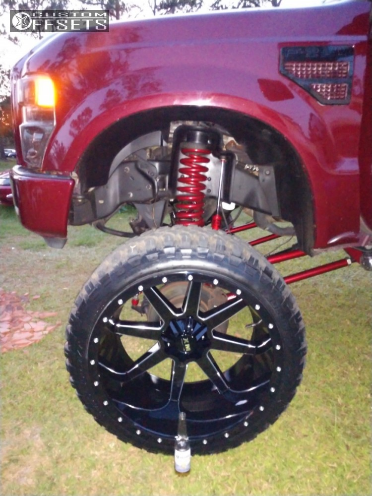 """2008 Ford F-250 Super Duty Hella Stance >5"""" on 26x14 -76 offset Xtreme Mudder Xm-304 and 37""""x13.5"""" RBP Repulsor MT on Suspension Lift 8"""" - Custom Offsets Gallery"""