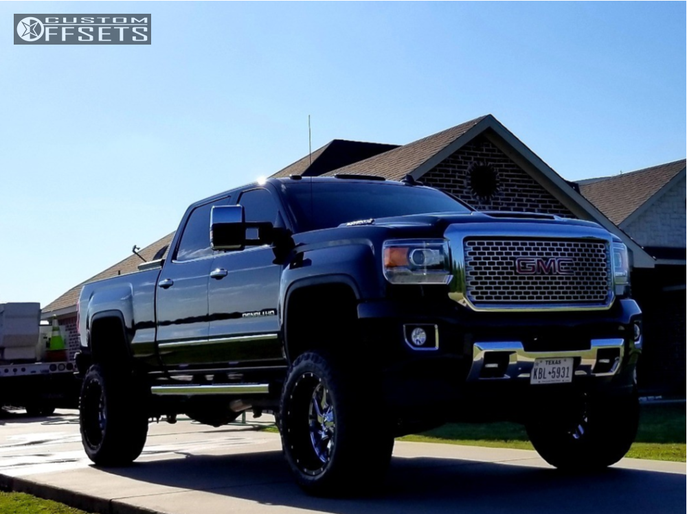 gmc sierra  hd fuel triton rough country suspension lift  custom offsets