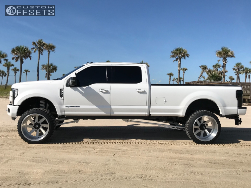 """2017 Ford F-350 Super Duty Hella Stance >5"""" on 26x14 -76 offset Fuel Forged Ff02 and 37""""x13.5"""" Comforser Cf3000 on Suspension Lift 6"""" - Custom Offsets Gallery"""