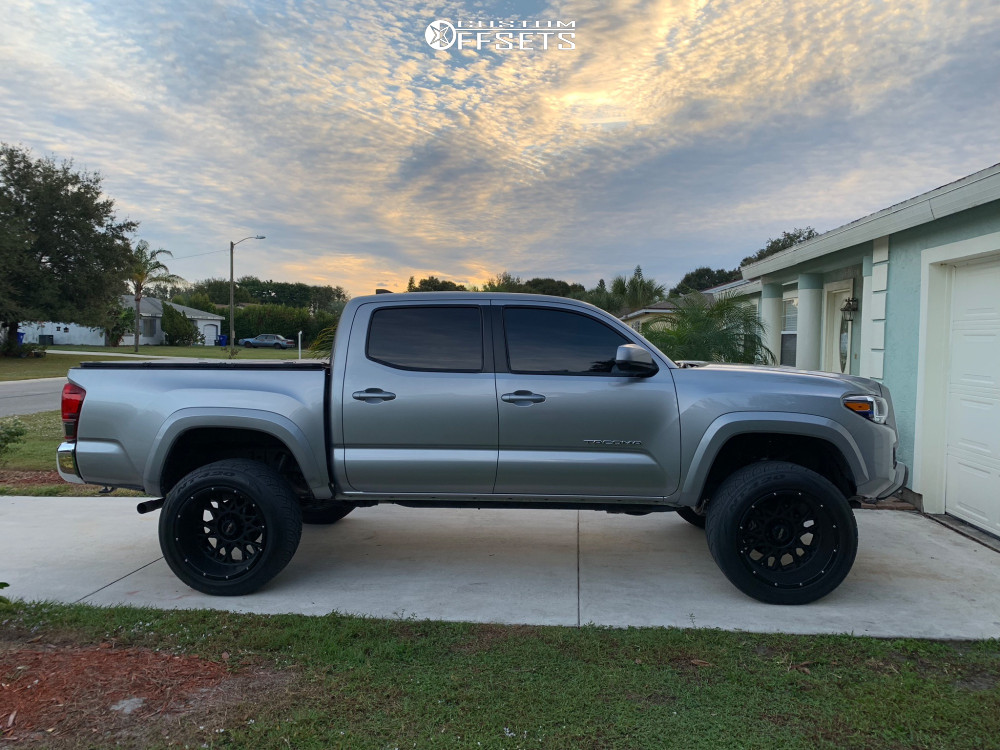 """2018 Toyota Tacoma Super Aggressive 3""""-5"""" on 20x12 -51 offset Vision Rocker and 305/50 Nitto Nt420s on Leveling Kit - Custom Offsets Gallery"""