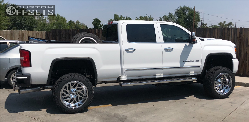 "2019 GMC Sierra 2500 HD Super Aggressive 3""-5"" on 22x12 -43 offset Fuel Triton and 35""x12.5"" Fuel Mud Gripper on Suspension Lift 6"" - Custom Offsets Gallery"