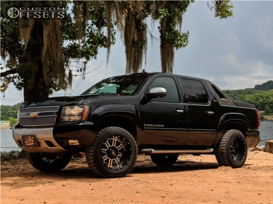 """2013 Chevrolet Avalanche Super Aggressive 3""""-5"""" on 20x12 -44 offset American Offroad Renegade and 33""""x12.5"""" Gladiator Qr900-mt on Leveling Kit - Custom Offsets Gallery"""