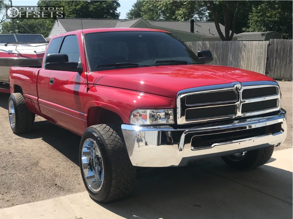 """1997 Dodge Ram 2500 Hella Stance >5"""" on 20x12 -44 offset Gear Off-Road Kickstand and 305/50 Nitto Nt420s on Leveling Kit - Custom Offsets Gallery"""