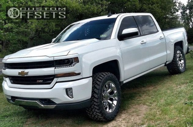 2016 Chevrolet Silverado 1500 Double Cab >> Wheel Offset 2016 Chevrolet Silverado 1500 Leveling Kit Custom Rims