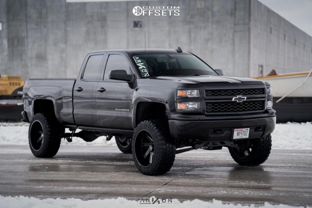 2 2015 Silverado 1500 Chevrolet Rough Country Vertex Coilover Suspension Lift 7in Arkon Off Road Ark I Black