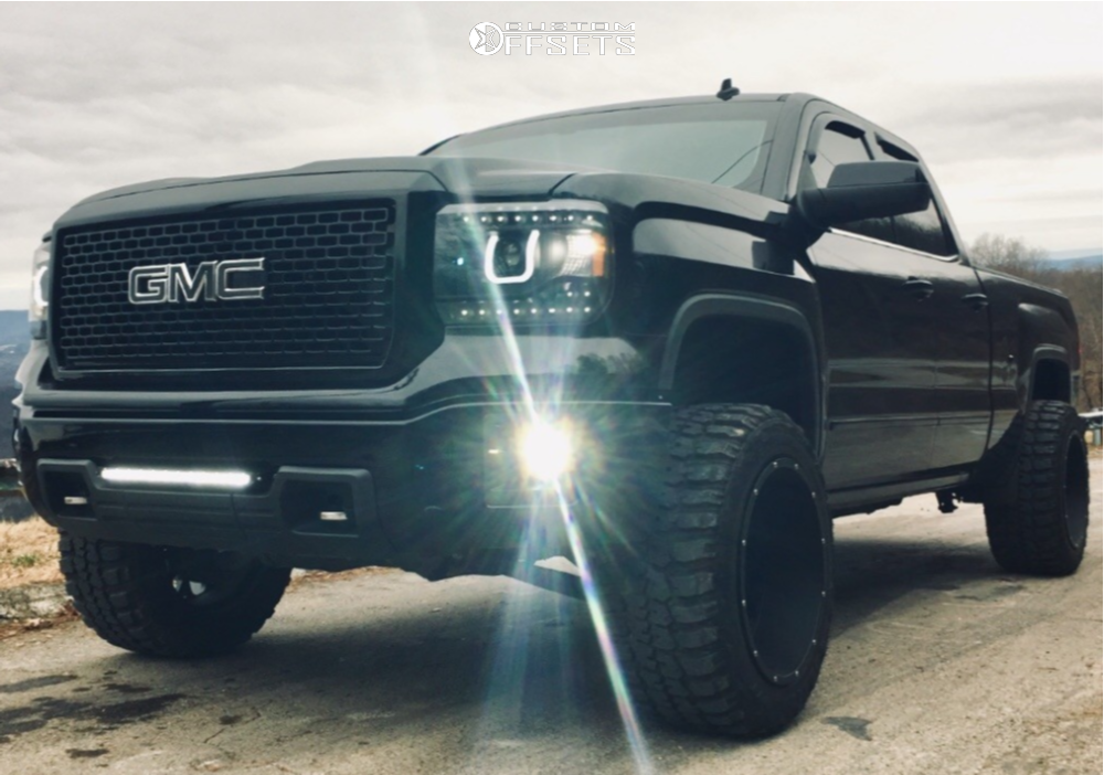 """2014 GMC Sierra 1500 Super Aggressive 3""""-5"""" on 20x12 -51 offset Vision Rocker and 33""""x12.5"""" Federal Couragia Mt on Leveling Kit - Custom Offsets Gallery"""
