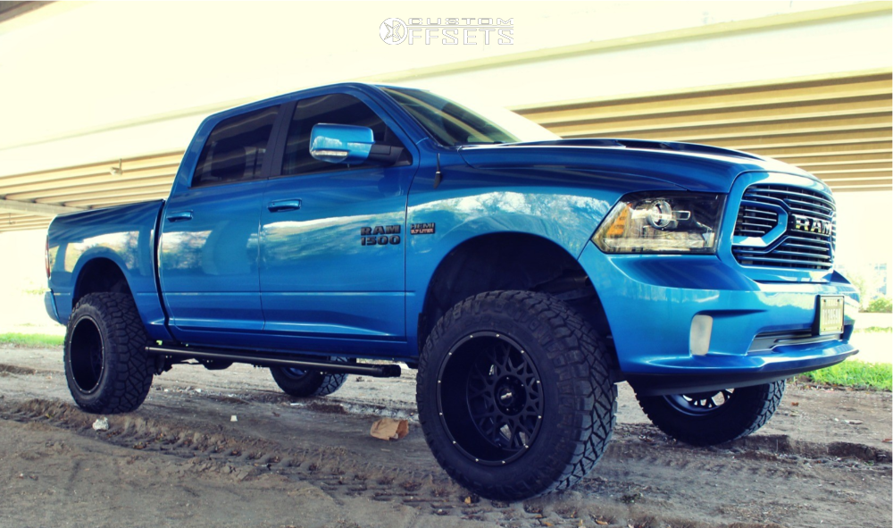"2018 Ram 1500 Aggressive > 1"" outside fender on 20x12 -51 offset Vision Rocker and 35""x12.5"" Nitto Ridge Grappler on Suspension Lift 6"" - Custom Offsets Gallery"
