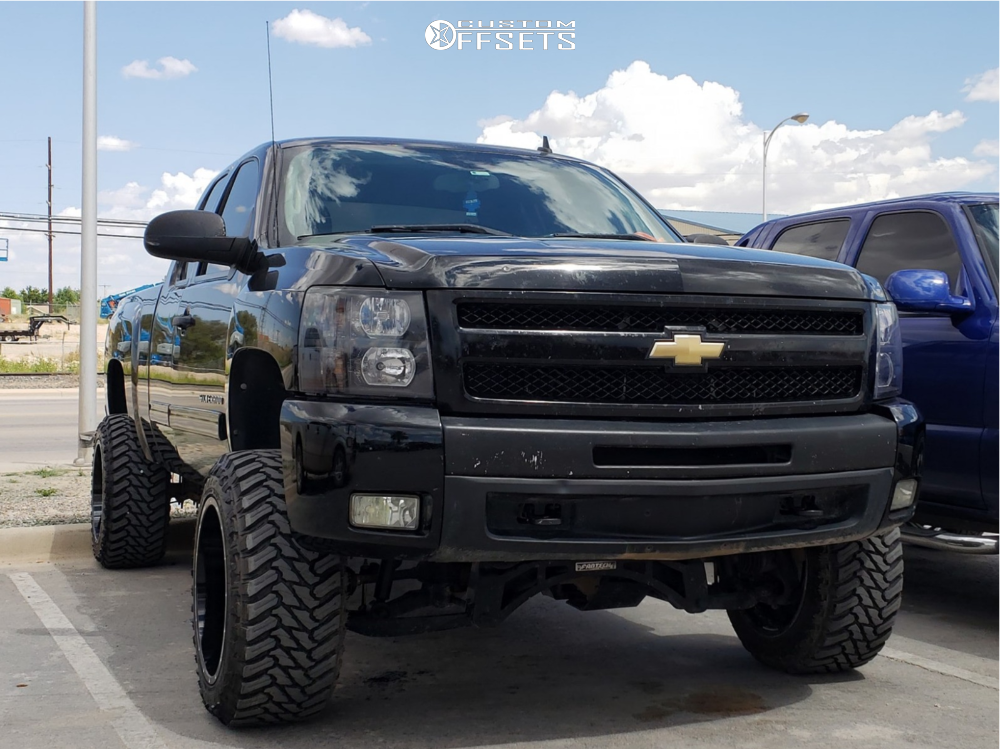 "2010 Chevrolet Silverado 1500 Aggressive > 1"" outside fender on 20x12 -44 offset American Offroad Renegade and 33""x12.5"" Atturo Trail Blade Mt on Suspension Lift 6"" - Custom Offsets Gallery"
