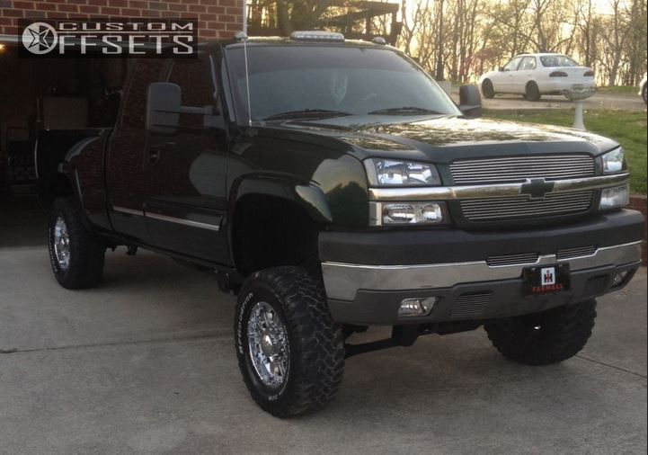 1 2004 Silverado 2500 Hd Chevrolet Suspension Lift 6 American Racing 114 Chrome Aggressive 1 Outside Fender