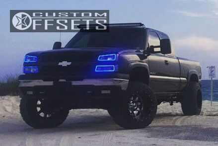 """2003 Chevrolet Silverado 1500 HD Aggressive > 1"""" outside fender on 20x14 -76 offset Fuel Maverick and 35""""x12.5"""" Nitto Trail Grappler on Suspension Lift 6"""" & Body 3"""" - Custom Offsets Gallery"""