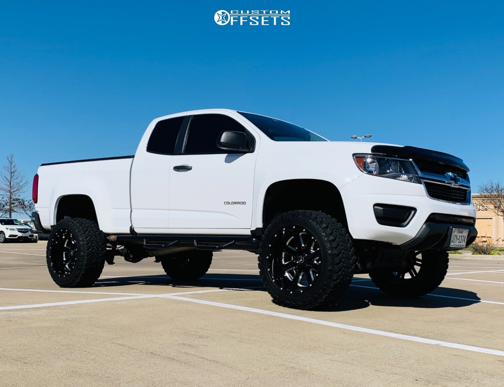 1 2015 Colorado Chevrolet Rough Country Suspension Lift 6in American Offroad A106 Black Milled