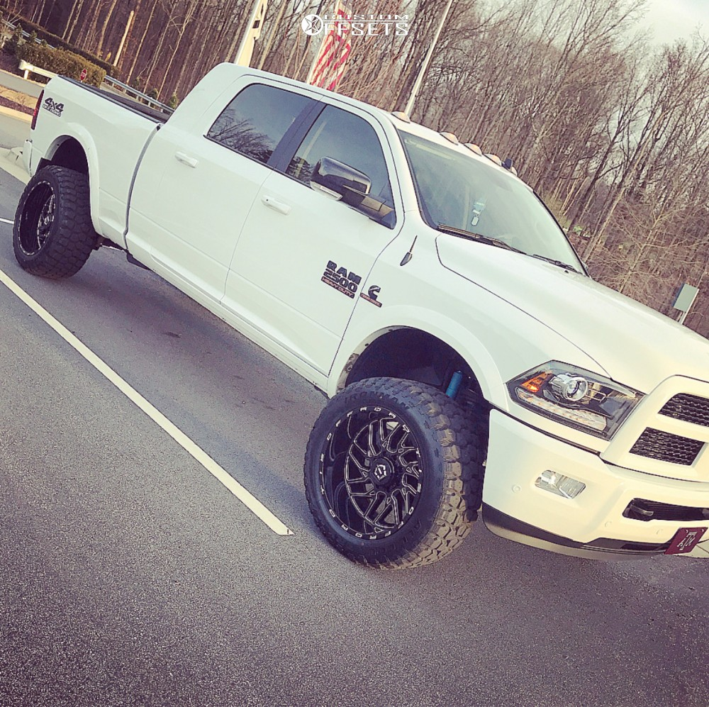 """2017 Dodge Ram 2500 Super Aggressive 3""""-5"""" on 22x12 -44 offset TIS 544bm and 35""""x12.5"""" Ironman All Country Mt on Leveling Kit - Custom Offsets Gallery"""