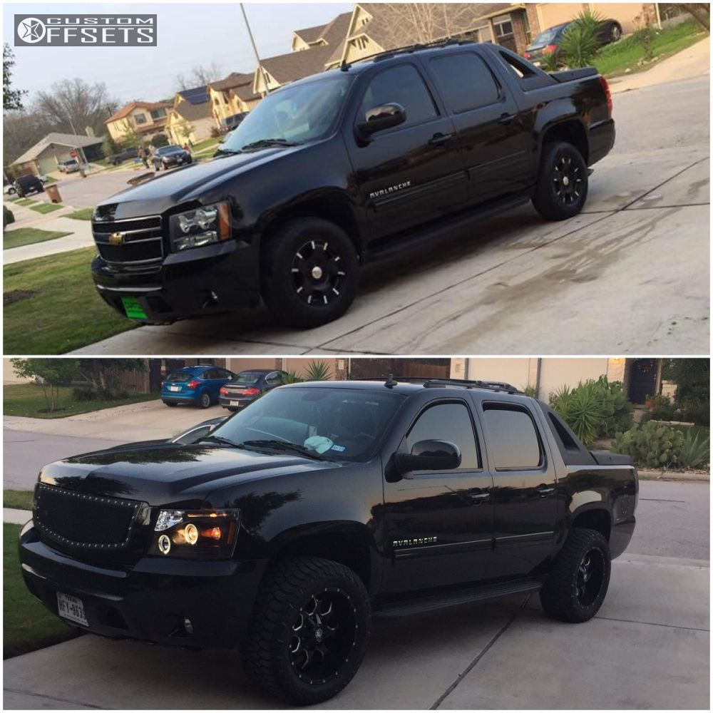 "2011 Chevrolet Avalanche Aggressive > 1"" outside fender on 20x10 -25 offset Mayhem Warrior and 285/55 AMP Terrain Gripper At G on Leveling Kit - Custom Offsets Gallery"
