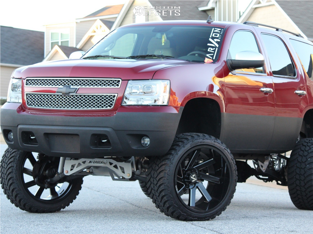 1 2011 Tahoe Chevrolet Mcgaughys Suspension Lift 9in Arkon Off Road Lincoln Machined Black