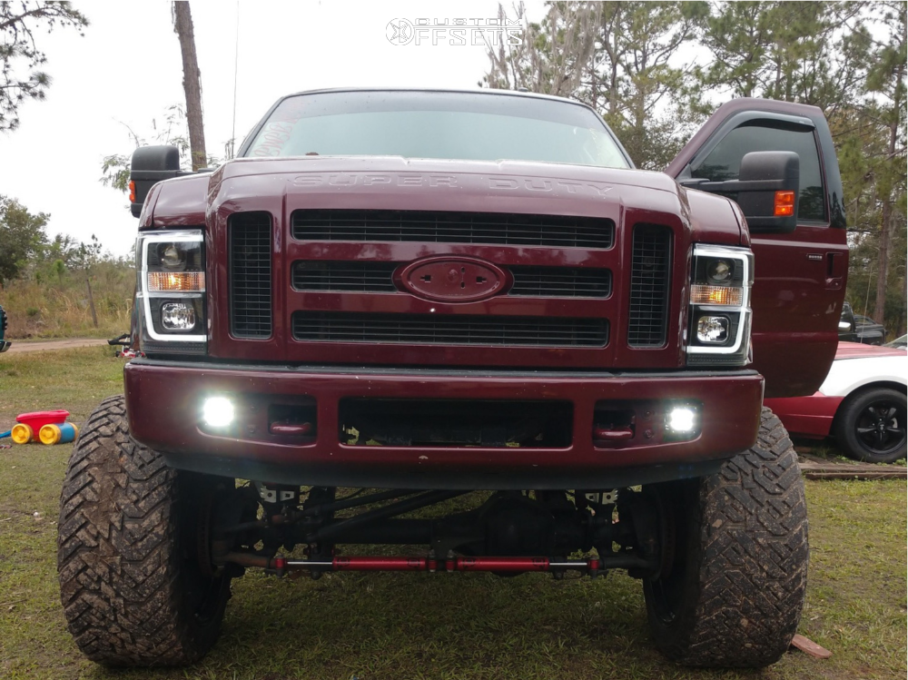 """2008 Ford F-250 Super Duty Hella Stance >5"""" on 26x14 -76 offset Xtreme Mudder Xm-304 and 40""""x15.5"""" Fuel Mud Gripper on Suspension Lift 8"""" - Custom Offsets Gallery"""