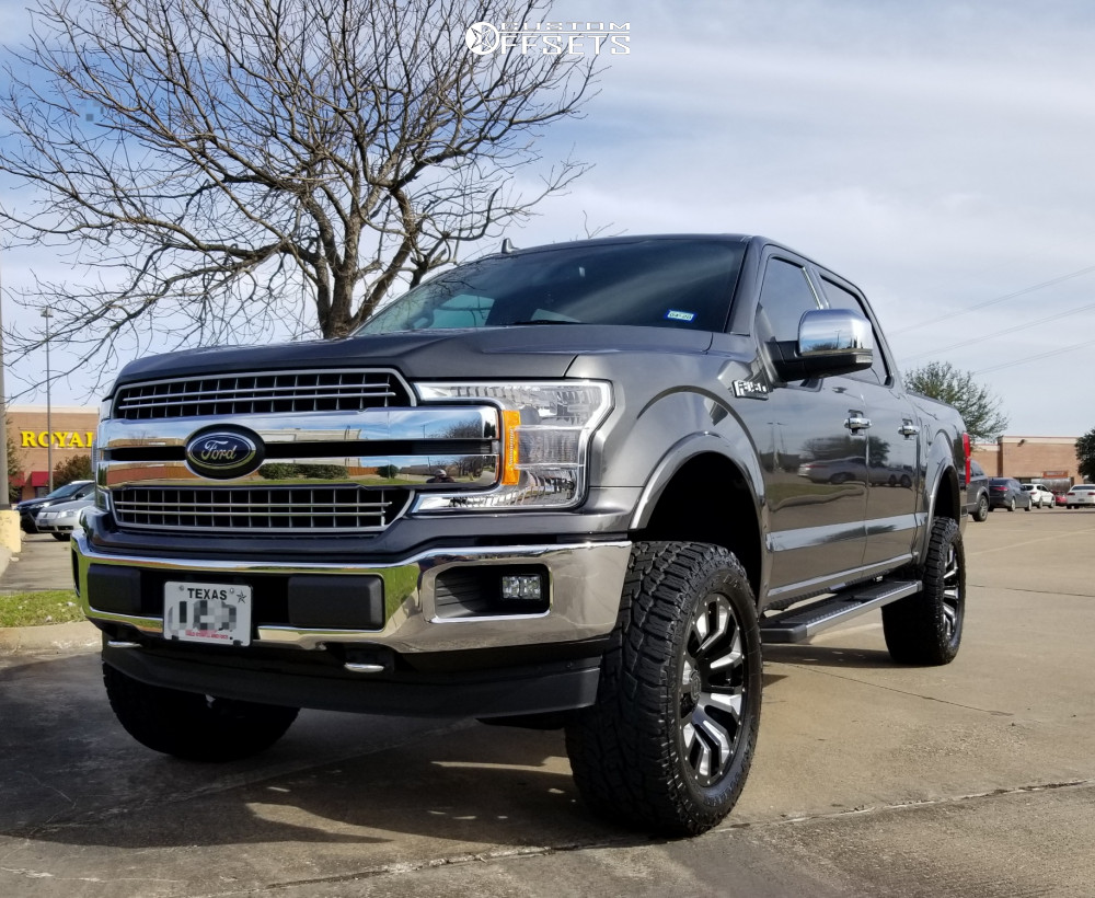 """2018 Ford F-150 Aggressive > 1"""" outside fender on 20x9.5 6 offset Black Rhino Pinatubo and 33""""x12.5"""" Toyo Tires Open Country A/t Ii on Suspension Lift 4"""" - Custom Offsets Gallery"""