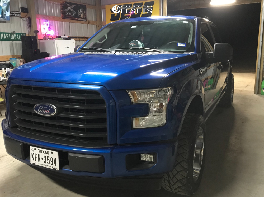 """2017 Ford F-150 Aggressive > 1"""" outside fender on 20x10 -19 offset Hostile Sprocket and 305/50 Nitto Nt420s on Leveling Kit - Custom Offsets Gallery"""
