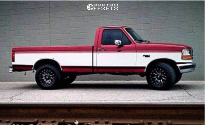 """1995 Ford F-150 Nearly Flush on 17x9 -12 offset Fuel Vandal and 265/70 Fuzion At on Suspension Lift 2.5"""" - Custom Offsets Gallery"""