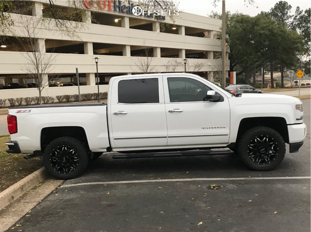 2017 Chevrolet Silverado 1500 Flush on 20x9 18 offset Ultra Carnivore and 295/55 Mastercraft Courser Mxt on Leveling Kit - Custom Offsets Gallery