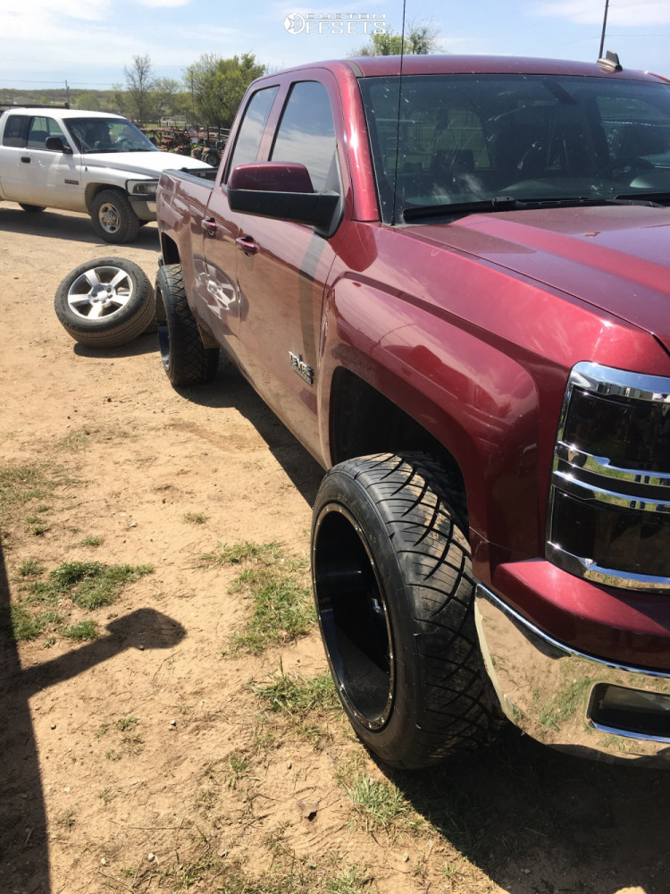 """2014 Chevrolet Silverado 1500 Aggressive > 1"""" outside fender on 22x12 -57 offset Vision Spyder and 305/45 Nitto Nt420s on Leveling Kit - Custom Offsets Gallery"""
