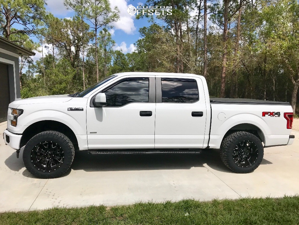 "2017 Ford F-150 Aggressive > 1"" outside fender on 20x10 -25 offset Ultra Hunter and 295/55 Nitto Ridge Grappler on Suspension Lift 2.5"" - Custom Offsets Gallery"