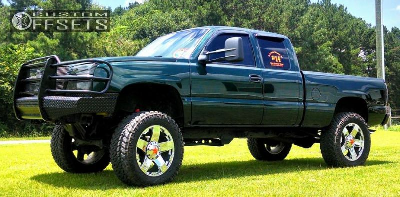 "2003 Chevrolet Silverado 1500 Nearly Flush on 22x9.5 38 offset XD Rockstar and 37""x13.5"" Nitto Trail Grappler on Suspension Lift 7.5"" - Custom Offsets Gallery"