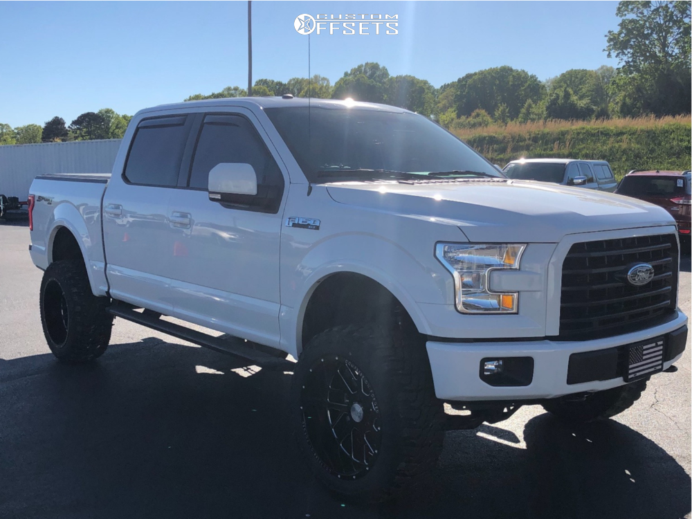 "2017 Ford F-150 Aggressive > 1"" outside fender on 22x12 -44 offset Axe Offroad AX2.0 and 35""x12.5"" Federal Xplora M/t on Suspension Lift 6"" - Custom Offsets Gallery"