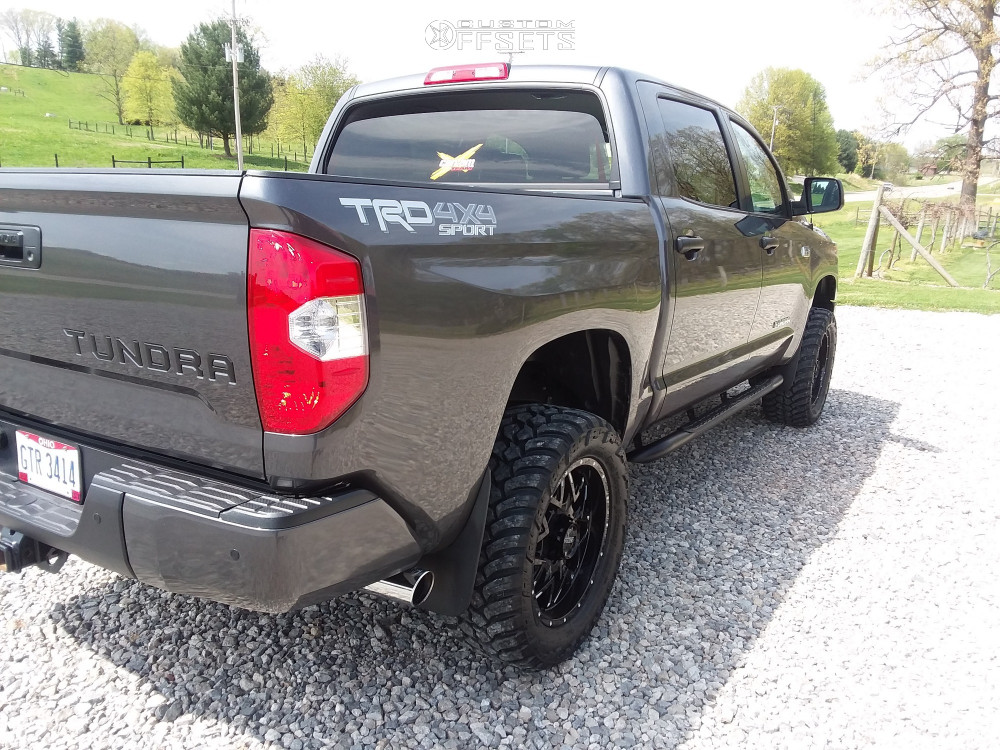 """2018 Toyota Tundra Aggressive > 1"""" outside fender on 20x9 18 offset Ultra Carnivore and 305/55 AMP Mud Terrain Attack Mt A on Leveling Kit - Custom Offsets Gallery"""