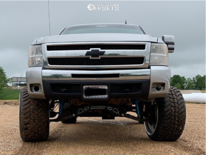 """2011 Chevrolet Silverado 1500 Hella Stance >5"""" on 24x16 -101 offset American Force Trax Ss and 35""""x13.5"""" Amp Mud Terrain Attack Mt A on Suspension Lift 8"""" - Custom Offsets Gallery"""